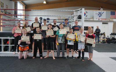 Ergebnis der Kickbox Prüfung am 10. März