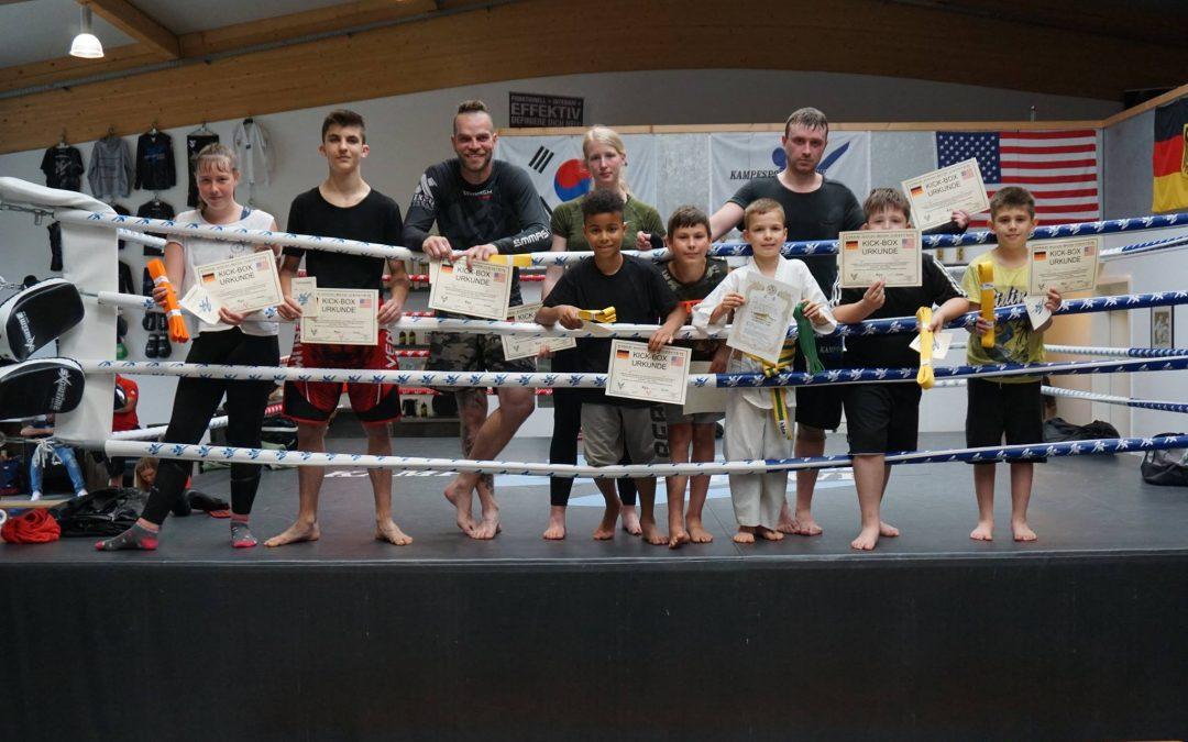 Ergebnis der Kickboxen Gürtelprüfung