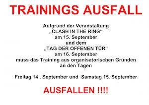 Trainningsausfall am 14. und 15. September