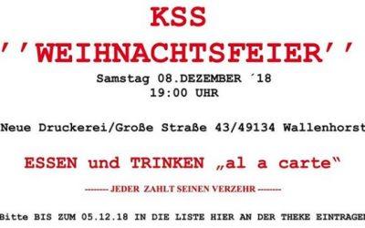 KSS – Weihnachtsfeier am 8. Dezember 2018