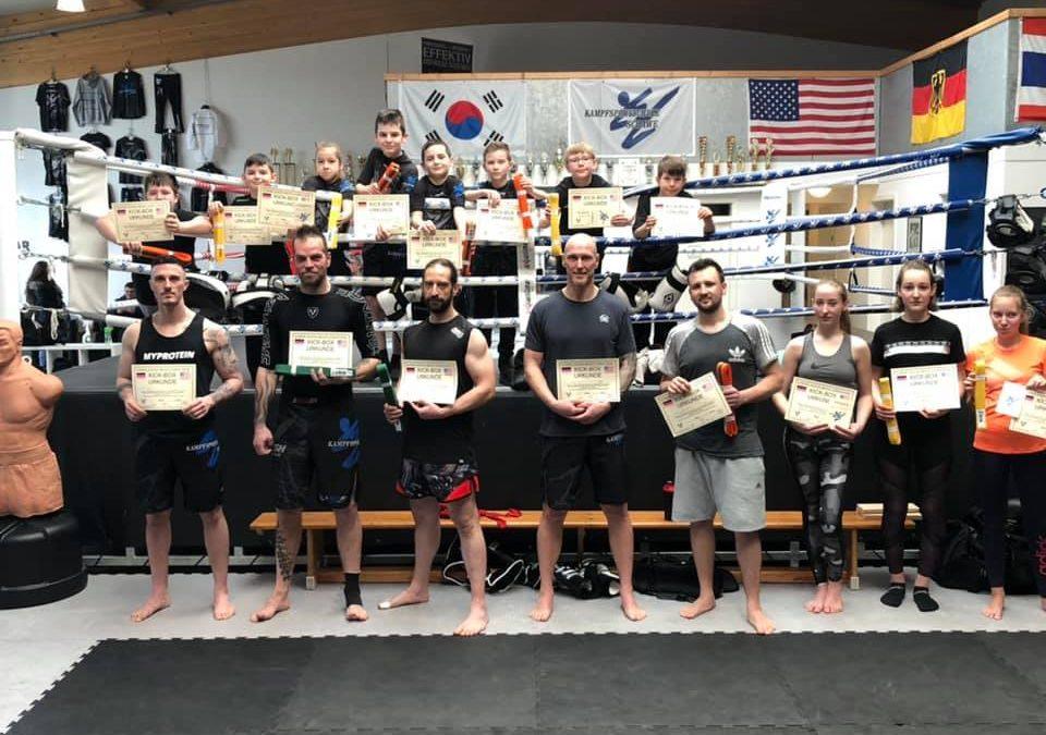 Bestandene Kick-Box Gürtelprüfungen